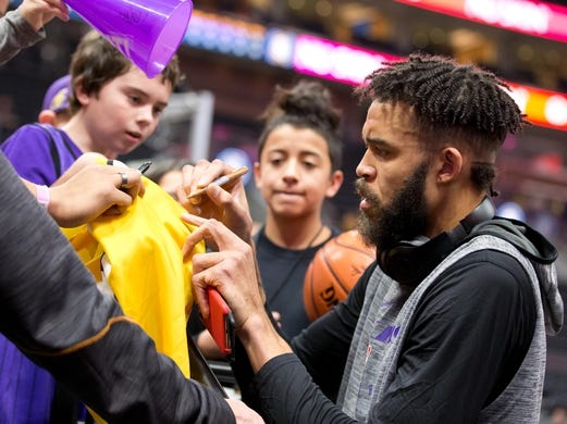 Jan 11, 2019; Salt Lake City, UT, USA; Los Angeles Lakers center JaVale McGee (7) signs autographs prior to a game against the Utah Jazz at Vivint Smart Home Arena. Mandatory Credit: Russ Isabella-USA TODAY Sports