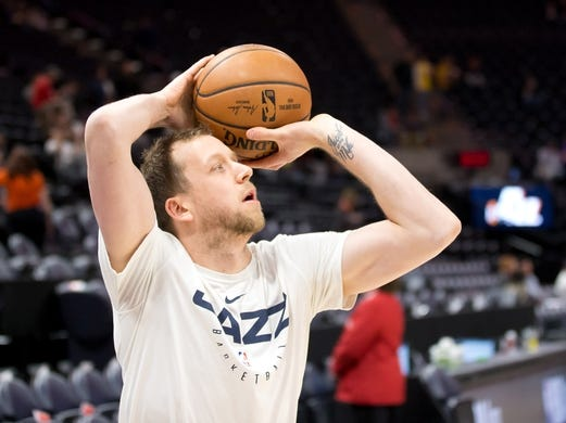 Jan 11, 2019; Salt Lake City, UT, USA; Utah Jazz forward Joe Ingles (2) warms up prior to a game against the Los Angeles Lakers at Vivint Smart Home Arena. Mandatory Credit: Russ Isabella-USA TODAY Sports