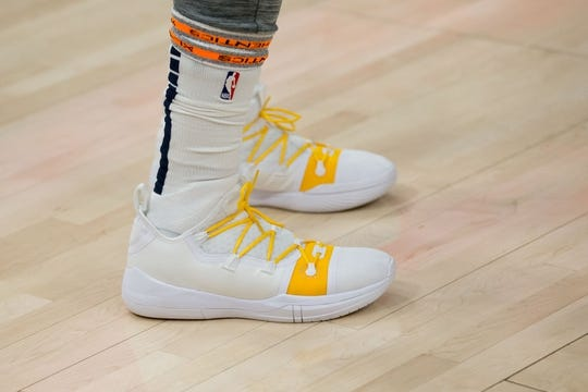 Jan 11, 2019; Salt Lake City, UT, USA; A detail photo of shoes worn by Utah Jazz forward Jae Crowder (99) prior to a game against the Los Angeles Lakers at Vivint Smart Home Arena. Mandatory Credit: Russ Isabella-USA TODAY Sports
