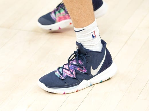 Jan 11, 2019; Salt Lake City, UT, USA; A detail photo of shoes worn by Utah Jazz forward Georges Niang (31) prior to a game against the Los Angeles Lakers at Vivint Smart Home Arena. Mandatory Credit: Russ Isabella-USA TODAY Sports