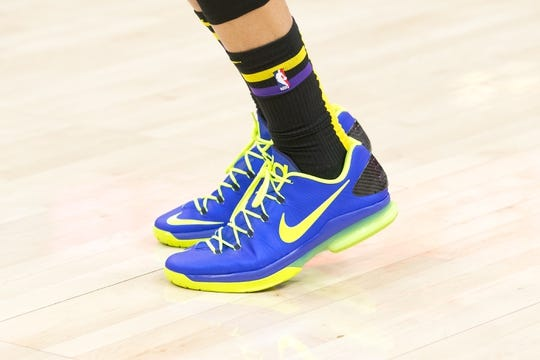 Jan 11, 2019; Salt Lake City, UT, USA; A detail photo of shoes worn by Los Angeles Lakers forward Michael Beasley (11) prior to a game against the Utah Jazz at Vivint Smart Home Arena. Mandatory Credit: Russ Isabella-USA TODAY Sports