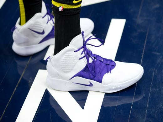 Jan 11, 2019; Salt Lake City, UT, USA; A detail photo of shoes worn by Los Angeles Lakers center JaVale McGee (7) prior to a game against the Utah Jazz at Vivint Smart Home Arena. Mandatory Credit: Russ Isabella-USA TODAY Sports