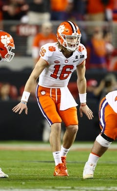 Jan 7, 2019; Santa Clara, CA, USA; Clemson Tigers quarterback Trevor Lawrence  (16) signals prior to the snap against the Alabama Crimson Tide in the 2019 College Football Playoff Championship game at Levi's Stadium. Mandatory Credit: Matthew Emmons-USA TODAY Sports
