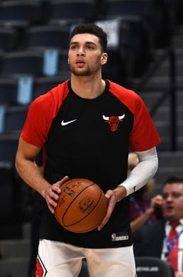 Jan 17, 2019; Denver, CO, USA; Chicago Bulls guard Zach LaVine (8) warms up before the game against the Denver Nuggets at the Pepsi Center. Mandatory Credit: Ron Chenoy-USA TODAY Sports