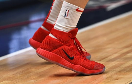 Jan 17, 2019; Denver, CO, USA; Detailed view of the shoes of Chicago Bulls guard Zach LaVine (8)  before the game against the Denver Nuggets at the Pepsi Center. Mandatory Credit: Ron Chenoy-USA TODAY Sports