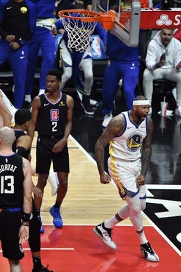 Jan 18, 2019; Los Angeles, CA, USA; Golden State Warriors center DeMarcus Cousins (0) lets out a yell after a first quarter slam dunk against the Los Angeles Clippers at Staples Center. Mandatory Credit: Robert Hanashiro-USA TODAY Sports