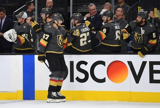 Jan 23, 2019; Las Vegas, NV, USA; Vegas Golden Knights left wing Max Pacioretty (67) celebrates with teammates after scoring a first period goal against the Nashville Predators at T-Mobile Arena. Mandatory Credit: Stephen R. Sylvanie-USA TODAY Sports