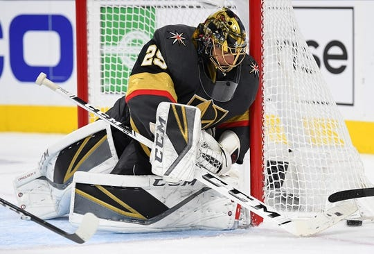 Jan 23, 2019; Las Vegas, NV, USA; Vegas Golden Knights goaltender Marc-Andre Fleury (29) makes a save during the first period against the Nashville Predators at T-Mobile Arena. Mandatory Credit: Stephen R. Sylvanie-USA TODAY Sports