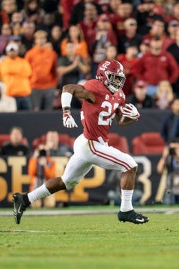 January 7, 2019; Santa Clara, CA, USA; Alabama Crimson Tide running back Najee Harris (22) during the second quarter of the 2019 College Football Playoff Championship game against the Clemson Tigers at Levi's Stadium. Clemson defeated Alabama 44-16. Mandatory Credit: Kyle Terada-USA TODAY Sports