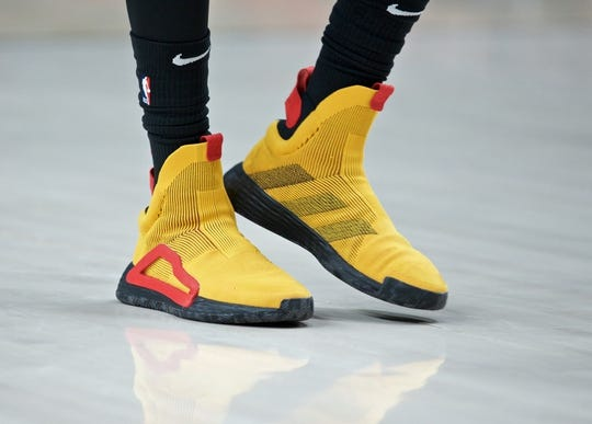 Jan. 26, 2019; Portland, OR, USA;A detail view of the shoes worn by Atlanta Hawks forward DeAndre' Bembry (95) against the Portland Trail Blazers during the first quarter at the Moda Center. Mandatory Credit: Craig Mitchelldyer-USA TODAY Sports