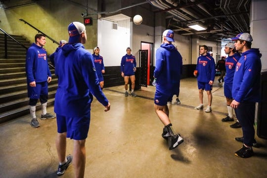 Feb 20, 2019; Calgary, Alberta, CAN; New York Islanders players warmup with a soccer ball prior to the game against the Calgary Flames at Scotiabank Saddledome. Mandatory Credit: Sergei Belski-USA TODAY Sports