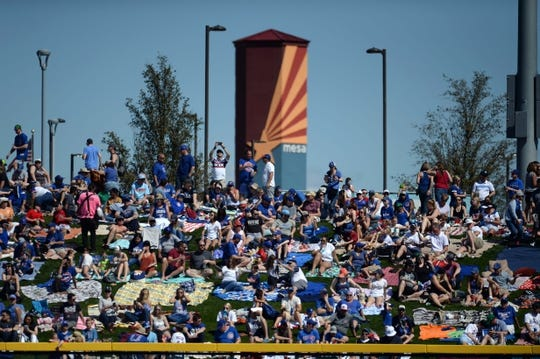Mar 3, 2019; Mesa, AZ, USA; Fans look on prior to the game between the Chicago Cubs and the Chicago White Sox at Sloan Park. Mandatory Credit: Joe Camporeale-USA TODAY Sports
