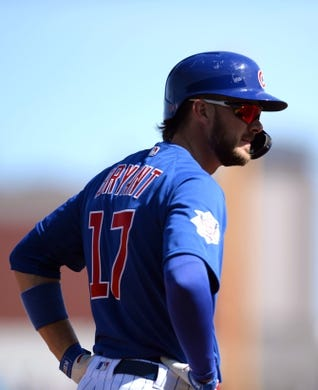 Mar 3, 2019; Mesa, AZ, USA; Chicago Cubs third baseman Kris Bryant (17) looks on against the Chicago White Sox during the first inning at Sloan Park. Mandatory Credit: Joe Camporeale-USA TODAY Sports