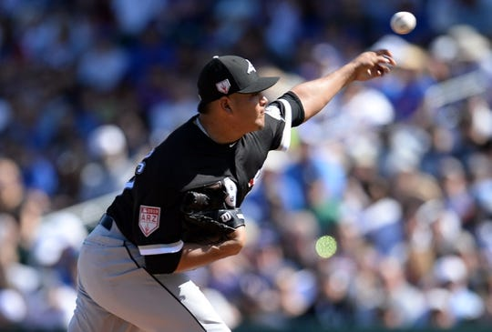 Mar 3, 2019; Mesa, AZ, USA; Chicago White Sox pitcher Manny Banuelos (58) pitches against the Chicago Cubs during the first inning at Sloan Park. Mandatory Credit: Joe Camporeale-USA TODAY Sports