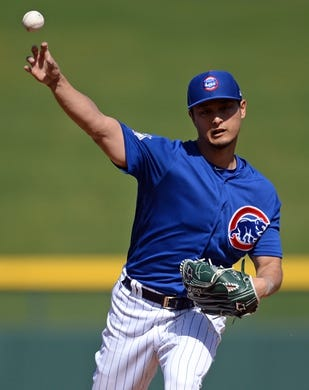 Mar 3, 2019; Mesa, AZ, USA; Chicago Cubs starting pitcher Yu Darvish (11) pitches against the Chicago White Sox during the second inning at Sloan Park. Mandatory Credit: Joe Camporeale-USA TODAY Sports