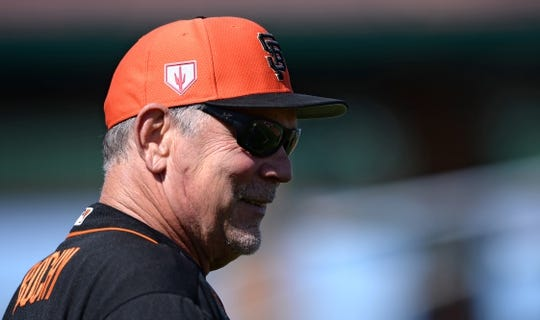 Mar 9, 2019; Scottsdale, AZ, USA; San Francisco Giants manager Bruce Bochy (15) smiles before the game against the Chicago Cubs at Scottsdale Stadium. Mandatory Credit: Orlando Ramirez-USA TODAY Sports