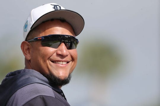 Mar 10, 2019; Lakeland, FL, USA; Detroit Tigers designated hitter Miguel Cabrera (24) smiled as he works out prior to the game against the New York Yankees at Publix Field at Joker Marchant Stadium. Mandatory Credit: Kim Klement-USA TODAY Sports