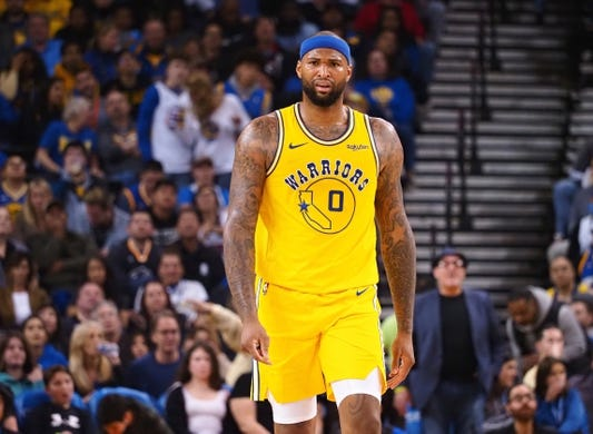 Mar 10, 2019; Oakland, CA, USA; Golden State Warriors center DeMarcus Cousins (0) reacts after being called for a foul against the Phoenix Suns during the second quarter at Oracle Arena. Mandatory Credit: Kelley L Cox-USA TODAY Sports