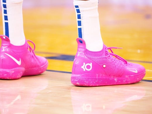 Mar 10, 2019; Oakland, CA, USA; The shoes of Golden State Warriors forward Kevin Durant (35) during the second quarter against the Phoenix Suns at Oracle Arena. Mandatory Credit: Kelley L Cox-USA TODAY Sports