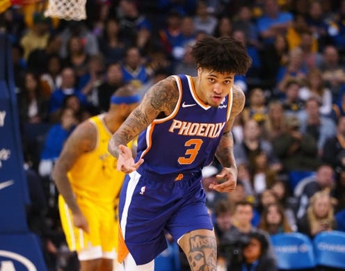 Mar 10, 2019; Oakland, CA, USA; Phoenix Suns forward Kelly Oubre Jr. (3) celebrates after a basket against the Golden State Warriors during the third quarter at Oracle Arena. Mandatory Credit: Kelley L Cox-USA TODAY Sports