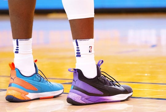 Mar 10, 2019; Oakland, CA, USA; The shoes of Phoenix Suns center Deandre Ayton (22) during the third quarter against the Golden State Warriors at Oracle Arena. Mandatory Credit: Kelley L Cox-USA TODAY Sports