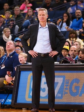 Mar 10, 2019; Oakland, CA, USA; Golden State Warriors head coach Steve Kerr on the sideline during the third quarter against the Phoenix Suns at Oracle Arena. Mandatory Credit: Kelley L Cox-USA TODAY Sports