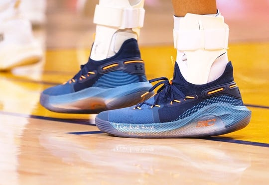 Mar 10, 2019; Oakland, CA, USA; The shoes of Golden State Warriors guard Stephen Curry (30) during the third quarter against the Phoenix Suns at Oracle Arena. Mandatory Credit: Kelley L Cox-USA TODAY Sports