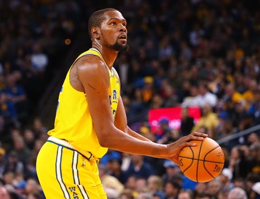 Mar 10, 2019; Oakland, CA, USA; Golden State Warriors forward Kevin Durant (35) takes a free throw against the Phoenix Suns during the third quarter at Oracle Arena. Mandatory Credit: Kelley L Cox-USA TODAY Sports