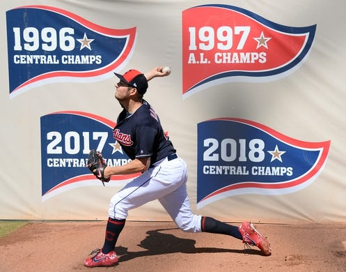 Mar 13, 2019; Goodyear, AZ, USA; Cleveland Indians starting pitcher Trevor Bauer (47) warms up prior to facing the Milwaukee Brewers at Goodyear Ballpark. Mandatory Credit: Joe Camporeale-USA TODAY Sports