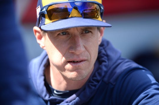 Mar 13, 2019; Goodyear, AZ, USA; Milwaukee Brewers manager Craig Counsell (30) looks on prior to facing the Cleveland Indians at Goodyear Ballpark. Mandatory Credit: Joe Camporeale-USA TODAY Sports