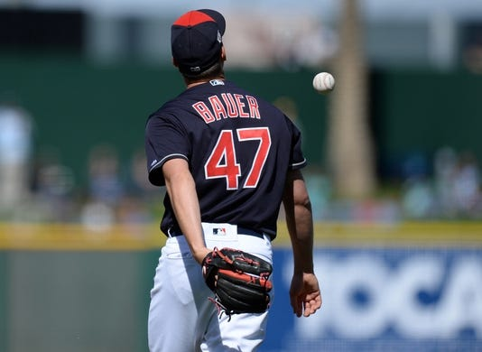 Mar 13, 2019; Goodyear, AZ, USA; Cleveland Indians starting pitcher Trevor Bauer (47) flips the ball after giving up a home run to Milwaukee Brewers second baseman Keston Hiura (not pictured) during the fifth inning at Goodyear Ballpark. Mandatory Credit: Joe Camporeale-USA TODAY Sports