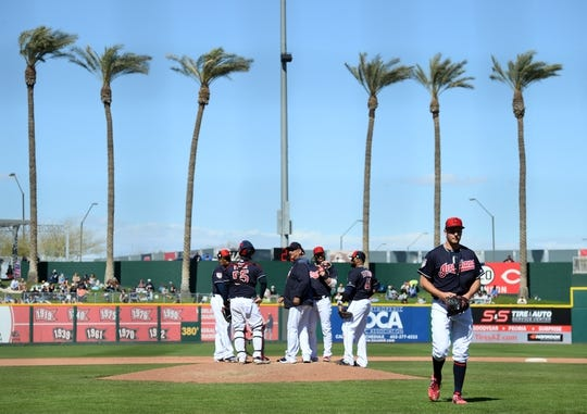Mar 13, 2019; Goodyear, AZ, USA; Cleveland Indians starting pitcher Trevor Bauer (47) leaves the game against the Milwaukee Brewers during the fifth inning at Goodyear Ballpark. Mandatory Credit: Joe Camporeale-USA TODAY Sports