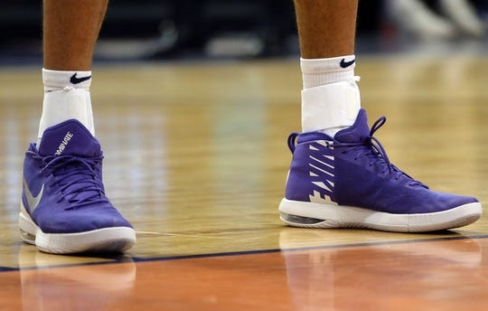 Mar 13, 2019; Phoenix, AZ, USA; The Nike sneakers of Utah Jazz center Rudy Gobert (27) during the game against the Phoenix Suns at Talking Stick Resort Arena. Mandatory Credit: Joe Camporeale-USA TODAY Sports