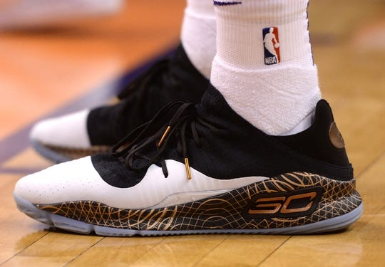 Mar 13, 2019; Phoenix, AZ, USA; The sneakers of Phoenix Suns forward Josh Jackson (20) during the game against the Utah Jazz at Talking Stick Resort Arena. Mandatory Credit: Joe Camporeale-USA TODAY Sports