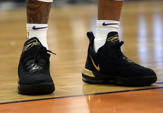 Mar 13, 2019; Phoenix, AZ, USA; The Nike sneakers of Phoenix Suns forward Richaun Holmes (21) during the game against the Utah Jazz at Talking Stick Resort Arena. Mandatory Credit: Joe Camporeale-USA TODAY Sports
