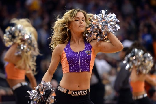 Mar 13, 2019; Phoenix, AZ, USA; The Phoenix Suns Dancers perform during the game against the Utah Jazz at Talking Stick Resort Arena. Mandatory Credit: Joe Camporeale-USA TODAY Sports