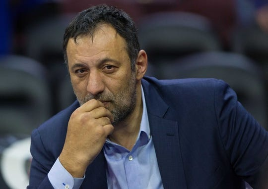 Mar 15, 2019; Philadelphia, PA, USA; Sacramento Kings General Manager Vlade Divac looks on during warm ups before a game against the Philadelphia 76ers at Wells Fargo Center. Mandatory Credit: Bill Streicher-USA TODAY Sports