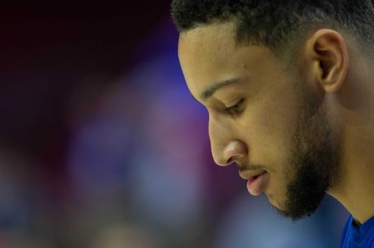 Mar 15, 2019; Philadelphia, PA, USA; Philadelphia 76ers guard Ben Simmons (25) warms up before action against the Sacramento Kings at Wells Fargo Center. Mandatory Credit: Bill Streicher-USA TODAY Sports
