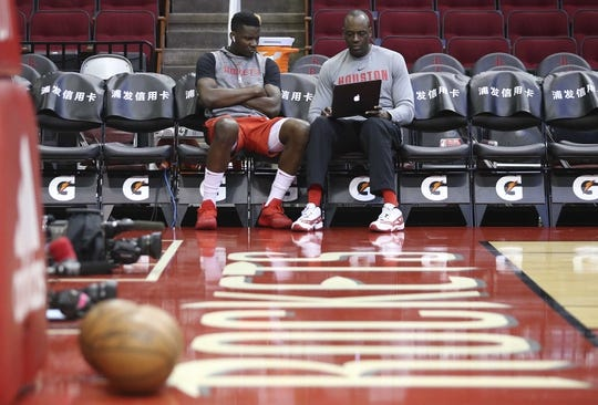Mar 15, 2019; Houston, TX, USA; Houston Rockets center Clint Capela (15) watches tape before playing against the Phoenix Suns at Toyota Center. Mandatory Credit: Thomas B. Shea-USA TODAY Sports