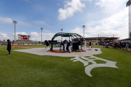 Mar 10, 2019; Lakeland, FL, USA; A general view of Publix Field at Joker Marchant Stadium during batting practice for the Detroit Tigers . Mandatory Credit: Kim Klement-USA TODAY Sports