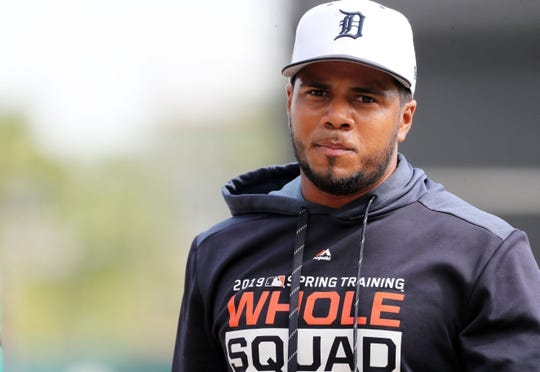 Mar 10, 2019; Lakeland, FL, USA; Detroit Tigers third baseman Jeimer Candelario (46) works out prior to the game against the New York Yankees at Publix Field at Joker Marchant Stadium. Mandatory Credit: Kim Klement-USA TODAY Sports