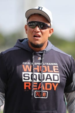 Mar 10, 2019; Lakeland, FL, USA; Detroit Tigers designated hitter Miguel Cabrera (24) works out prior to the game against the New York Yankees at Publix Field at Joker Marchant Stadium. Mandatory Credit: Kim Klement-USA TODAY Sports
