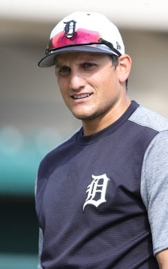 Mar 10, 2019; Lakeland, FL, USA; Detroit Tigers center fielder Mikie Mahtook (8) works out prior to the game against the New York Yankees at Publix Field at Joker Marchant Stadium. Mandatory Credit: Kim Klement-USA TODAY Sports