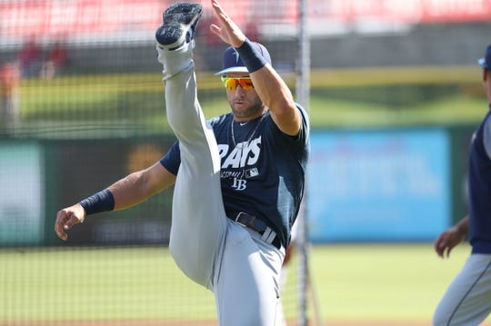 Mar 11, 2019; Clearwater, FL, USA; Tampa Bay Rays center fielder Kevin Kiermaier (39) works out prior to the game  against the Philadelphia Phillies at Spectrum Field. Mandatory Credit: Kim Klement-USA TODAY Sports