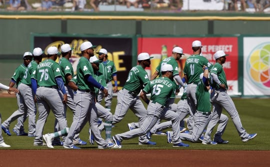 Mar 17, 2019; Scottsdale, AZ, USA; The Kansas City Royals warm up before a spring training game against the San Francisco Giants at Scottsdale Stadium. Mandatory Credit: Rick Scuteri-USA TODAY Sports