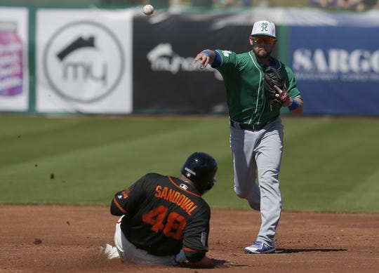 Mar 17, 2019; Scottsdale, AZ, USA; Kansas City Royals second baseman Chris Owings (2) makes the double play while avoiding San Francisco Giants third baseman Pablo Sandoval (48) in the second inning during a spring training game at Scottsdale Stadium. Mandatory Credit: Rick Scuteri-USA TODAY Sports