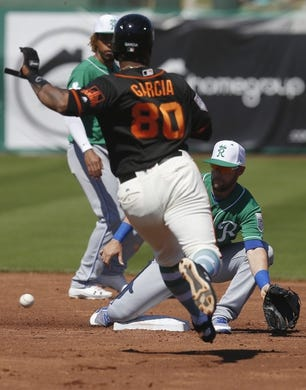 Mar 17, 2019; Scottsdale, AZ, USA; Kansas City Royals second baseman Chris Owings (2) tags out San Francisco Giants right fielder Anthony Garcia (80) trying to steal the base in the second inning during a spring training game at Scottsdale Stadium. Mandatory Credit: Rick Scuteri-USA TODAY Sports