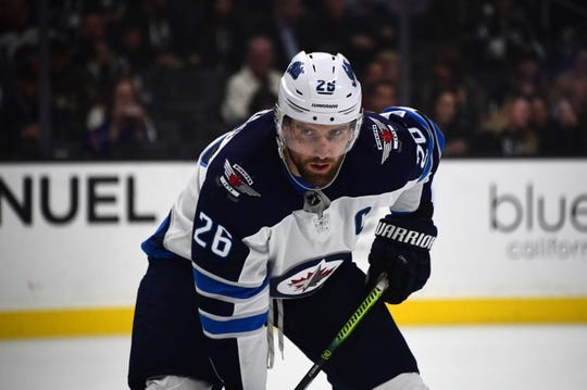 Mar 18, 2019; Los Angeles, CA, USA; Winnipeg Jets right wing Blake Wheeler (26) in the first period  against the Los Angeles Kings at Staples Center. Mandatory Credit: Kirby Lee-USA TODAY Sports