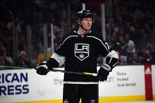 Mar 18, 2019; Los Angeles, CA, USA; Los Angeles Kings right wing Tyler Toffoli (73) reacts in the second period against the Winnipeg Jets at Staples Center. The Jets defeated the Kings 3-2. Mandatory Credit: Kirby Lee-USA TODAY Sports