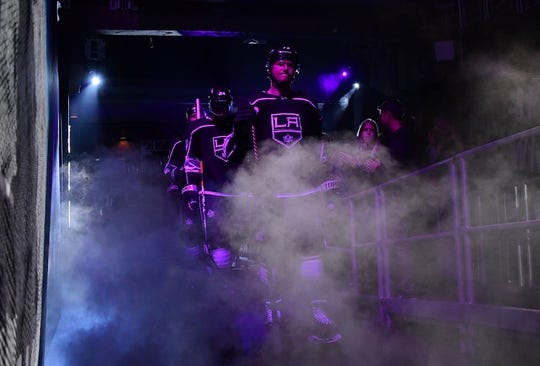 Mar 18, 2019; Los Angeles, CA, USA; Los Angeles Kings right wing Tyler Toffoli (73) enters the ice before the third period against the Winnipeg Jets at Staples Center. The Jets defeated the Kings 3-2. Mandatory Credit: Kirby Lee-USA TODAY Sports